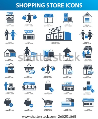 Shopping store icon set,blue version,clean vector