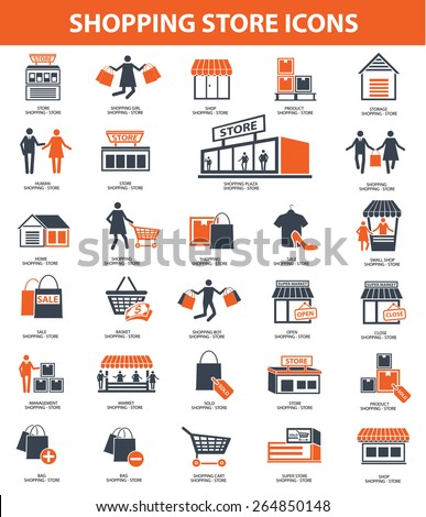 Shopping store icon set,orange version,clean vector