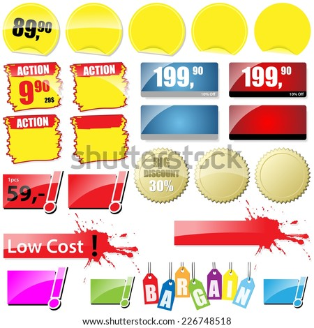 Shopping Tags Collection - Vector Elements For Graphic Design - stock vector