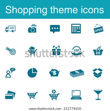 Shopping theme icons - stock vector