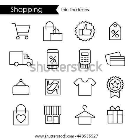 Shopping thin line icons, adjustable stroke