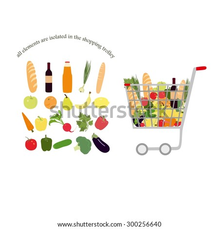 Shopping trolley full  trolley filled with food of  fruit and vegetable, bread, wine, juice. Isolated image on white background. - stock vector