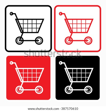 Shopping trolley icon - graphic design element, sign - stock vector