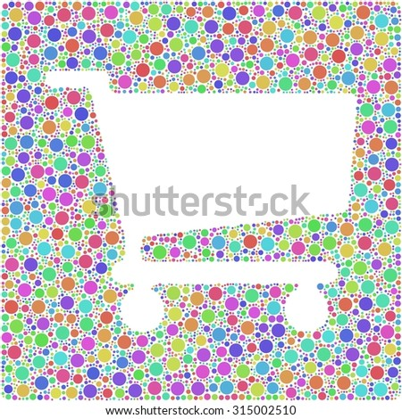 Shopping trolley symbol into a squared colored icon - stock vector
