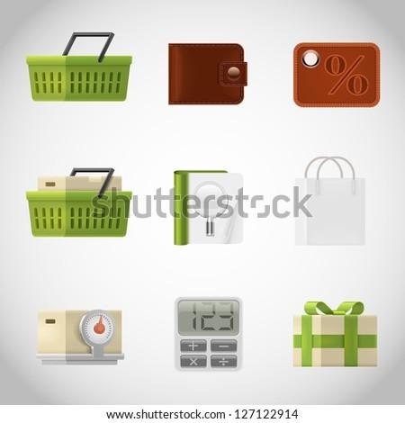 shopping vector icons - stock vector