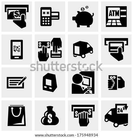 Shopping vector icons set on gray  - stock vector