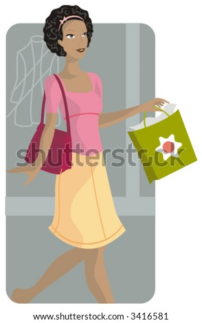 Shopping vector illustration series. Shopping girl. Check my portfolio for much more of this series as well as thousands of other great vector items. - stock vector