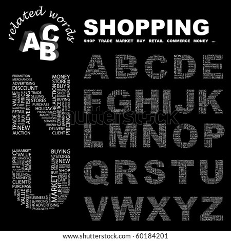 SHOPPING. Vector letter collection. Illustration with different association terms.