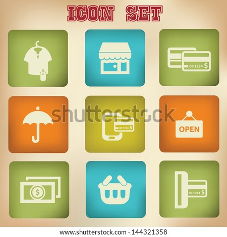 Shopping vintage icons,vector
