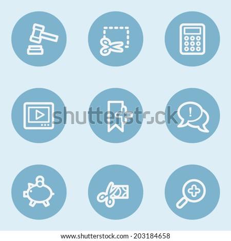 Shopping web icon set 3 , blue buttons - stock vector