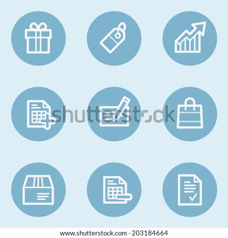 Shopping web icon set 1 , blue buttons - stock vector