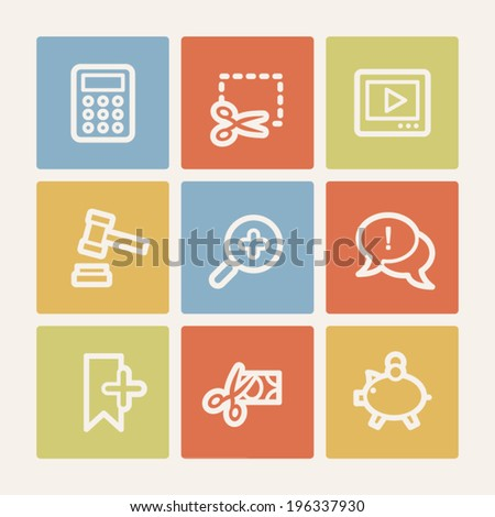 Shopping web icon set 3, color square buttons - stock vector