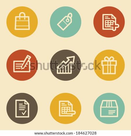 Shopping web icon set 1, retro circle buttons - stock vector