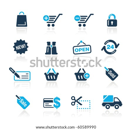 Shopping Web Icons // Azure Series - stock vector