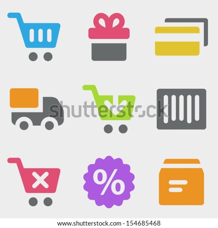 Shopping web icons color icons - stock vector