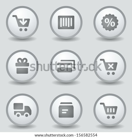 Shopping web icons, grey circle buttons - stock vector