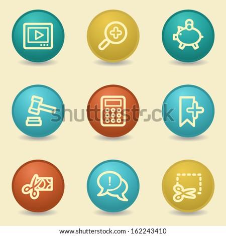 Shopping web icons, retro buttons - stock vector