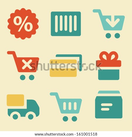 Shopping web icons retro color series - stock vector