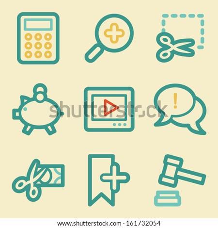 Shopping web icons, retro colors - stock vector