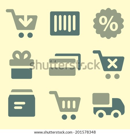 Shopping web icons set - stock vector