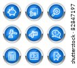 Shopping web icons set 3, blue  buttons - stock vector