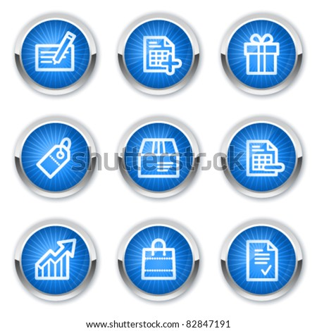 Shopping web icons set 1, blue  buttons - stock vector