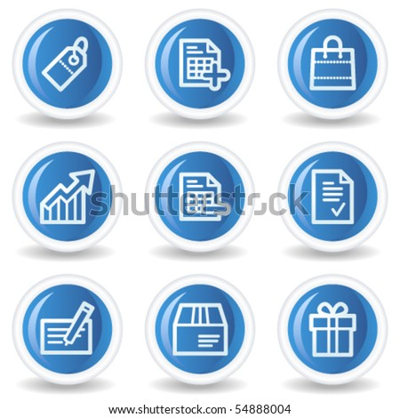 Shopping web icons set 1, blue glossy circle buttons - stock vector