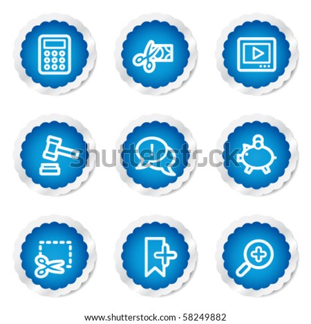 Shopping web icons set 3, blue stickers series - stock vector