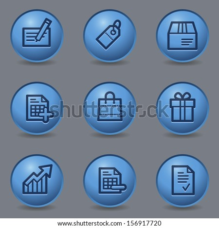 Shopping web icons set 1, circle blue buttons - stock vector