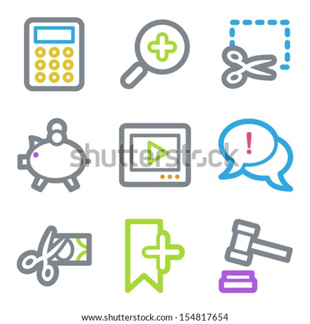 Shopping web icons set 3, color line contour series - stock vector