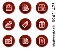 Shopping web icons set 1, dark red circle buttons - stock vector
