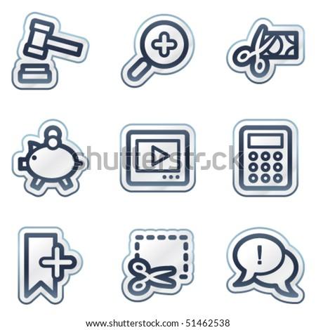 Shopping web icons set 3, deep blue contour sticker series - stock vector