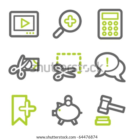 Shopping web icons set 3, green and gray contour series - stock vector