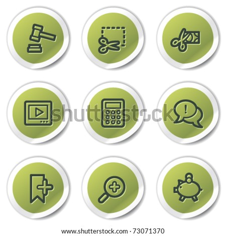 Shopping web icons set 3, green circle stickers