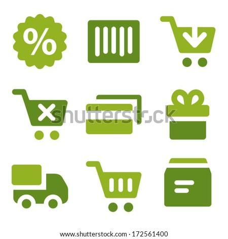 Shopping web icons set, green series - stock vector