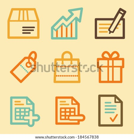 Shopping web icons set in retro style  - stock vector