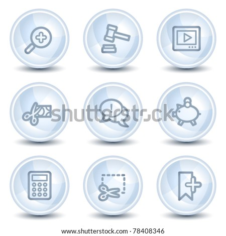 Shopping web icons set 3, light blue glossy circle buttons - stock vector