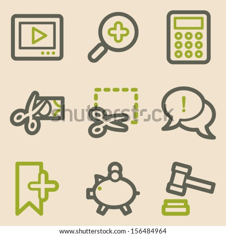 Shopping web icons set 3, vintage series - stock vector