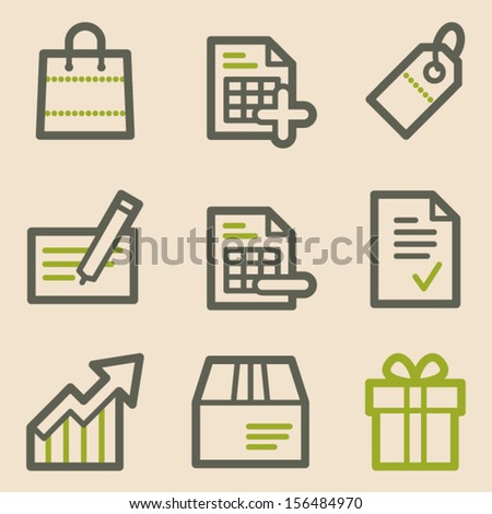Shopping web icons set 1, vintage series - stock vector