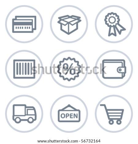 Shopping web icons set 2, white circle series - stock vector