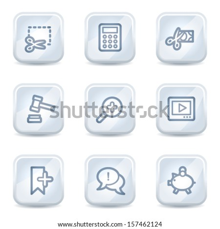 Shopping web icons set 3, white glossy buttons - stock vector