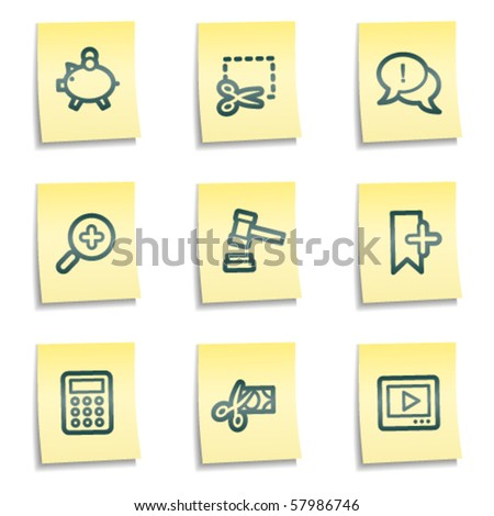 Shopping web icons set 3, yellow notes series - stock vector