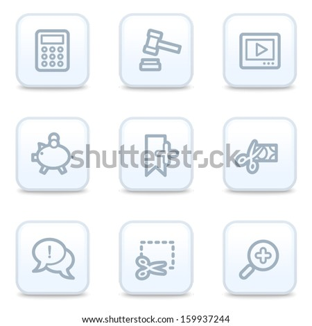 Shopping web icons, square buttons - stock vector