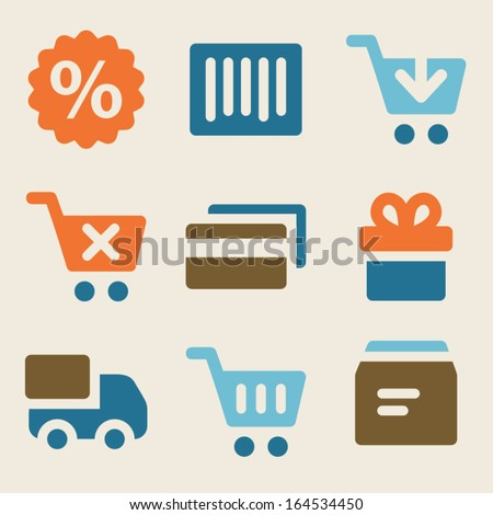 Shopping web icons vintage color series - stock vector
