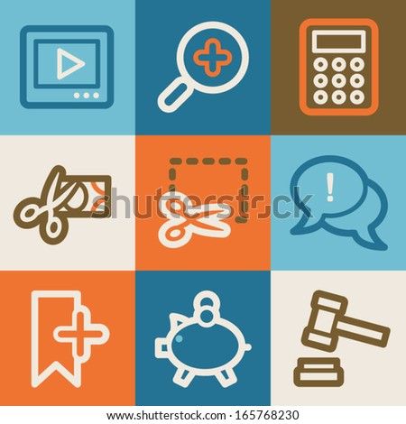 Shopping web icons, vintage series - stock vector
