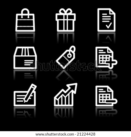 Shopping white contour web icons - stock vector