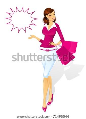 Shopping woman - stock vector