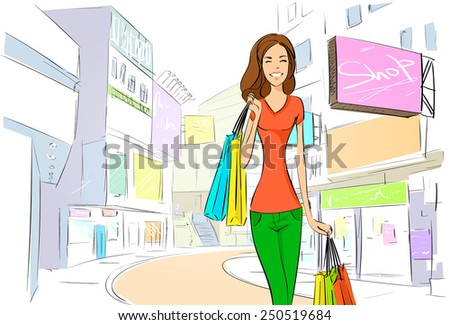 shopping woman on city street street draw sketch shops colorful buildings, vector illustration - stock vector