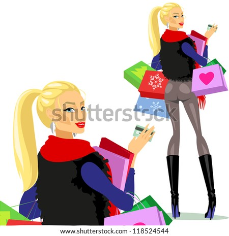 Shopping woman, Pretty girl carrying bags, boxes and plastic card, Christmas shopping. Isolated - stock vector