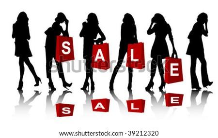 Shopping woman silhouette - stock vector